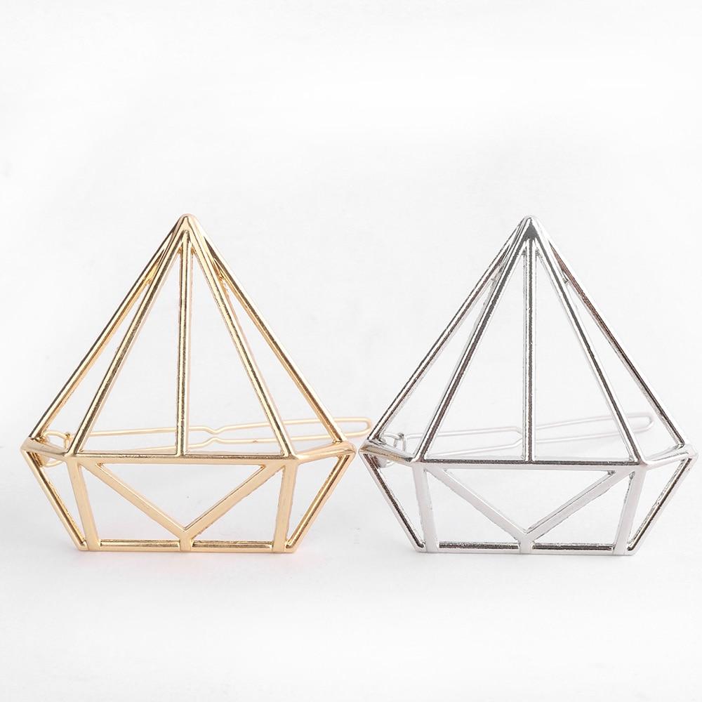1 StÜck Mode Frauen Geometrie Dreieck Haarnadel Mode Gold Silber Bowknot Diamant Ewige Liebe Katze Haarspangen Zubehör Niedriger Preis
