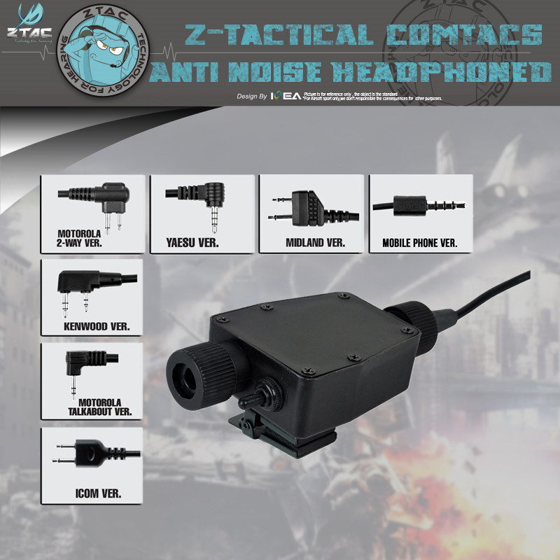 Z-TAC Military Standard Version Headset PTT Z116 Metal Clip On The Back For Carrying On Vest/strap Accessories