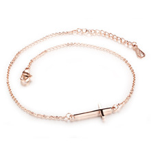 Stainless Steel Anklets Cross Rose Gold Plated Women Classical New Fashion Jewelry Bracelet Cute Love Vintage