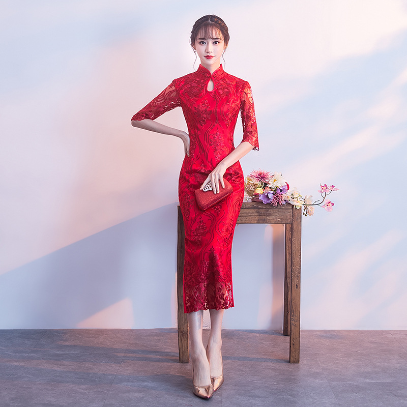 Chinese Wedding Dress.Us 43 68 48 Off 2018 Red Chinese Wedding Dress Female Long Short Sleeve Cheongsam Slim Chinese Traditional Dress Women Qipao For Wedding Party In
