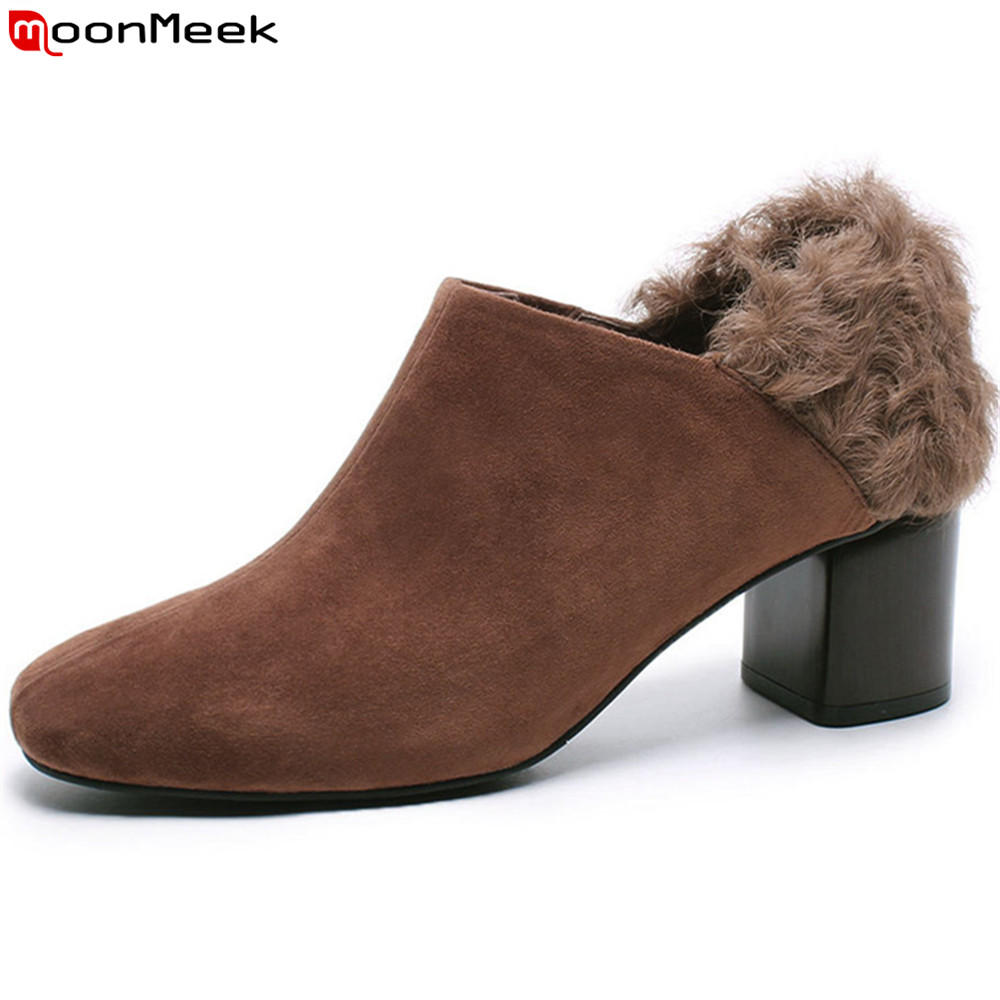MoonMeek brown black fashion new women pumps square toe kid suede ladies shoes square heel square heel fur high heels shoesMoonMeek brown black fashion new women pumps square toe kid suede ladies shoes square heel square heel fur high heels shoes