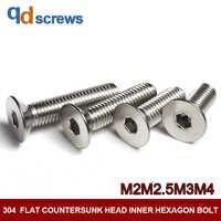 304 M2M2.5M3M4 tête fraisée plate intérieure hexagone acier inoxydable vis boulon DIN7991 GB70.3 ISO 10642 JIS B 1194