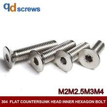 304 M2M2.5M3M4 flat countersunk head inner hexagon stainless steel screw bolt DIN7991 GB70.3 ISO 10642 JIS B 1194