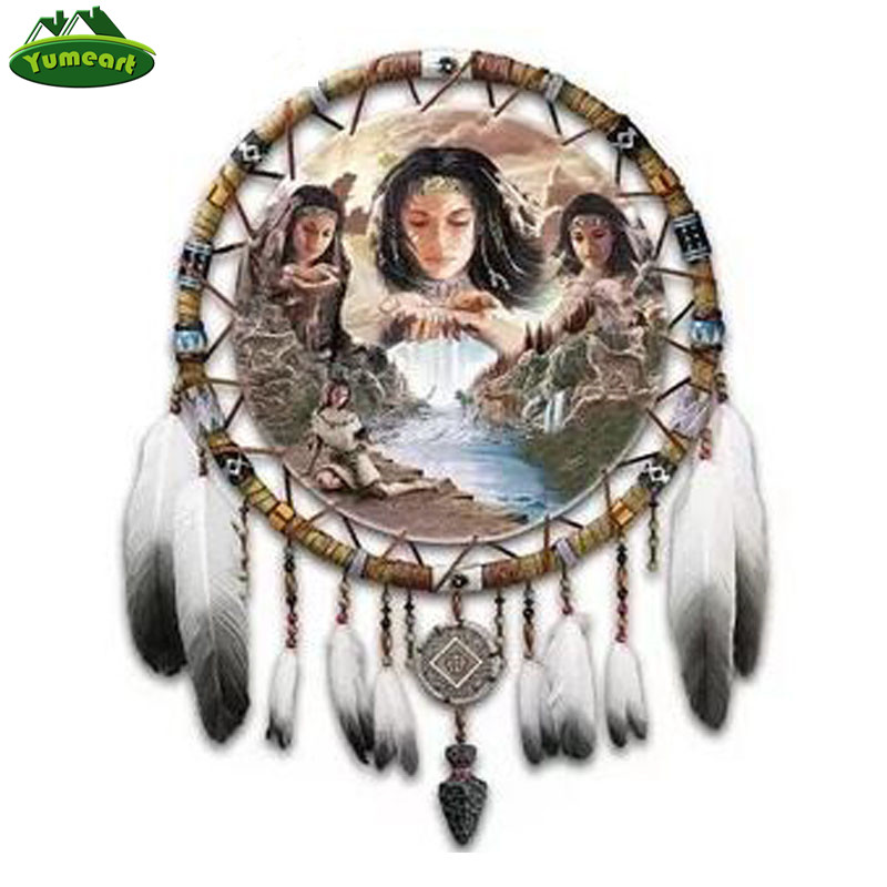 YUMEART 5D Diamond Embroidery By Number Native Indian Diy Diamond Painting Cross Stitch Mosaic Embroidery Feather Dream Catcher(China)