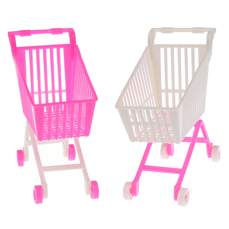 1 Pcs Mini Supermarket Handcart Shopping Utility Cart Mode Storage Toy Doll Accessories Gifts for Kids Pink White Random Color