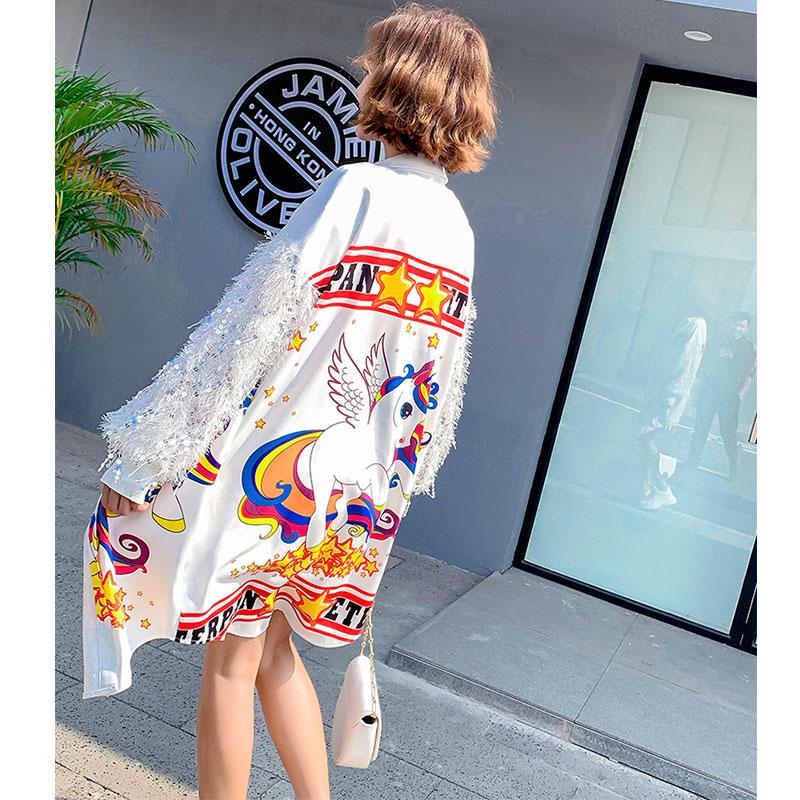 Longues Mode De Femmes White 2019 Bande Paillettes Gland Impression Dessinée Chemises Printemps HBaq8xv