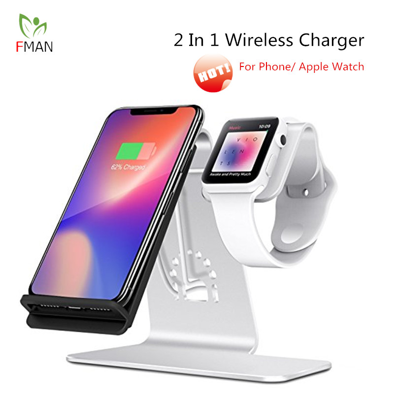 FMAN 2 en 1 Qi chargeur rapide sans fil Pad pour iPhone 6/7/8/X Plus Samsung Galaxy S6/S7/S8 Apple i-watch support de charge rapide