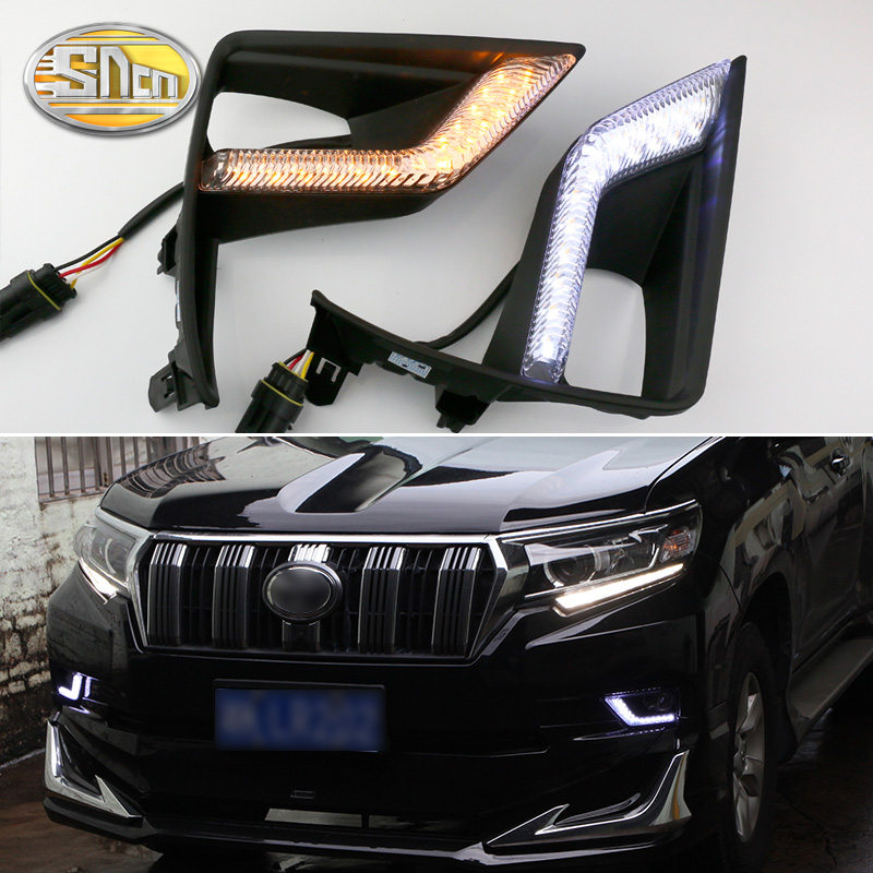SNCN 2PCS LED Daytime Running Light For Toyota Land Cruiser Prado 2018 Car Accessories Waterproof 12V DRL Fog Lamp Decoration car styling daytime running lights fog lamp drl led abs chrome for toyota land cruiser prado 2010 2011 2012 2013 accessories