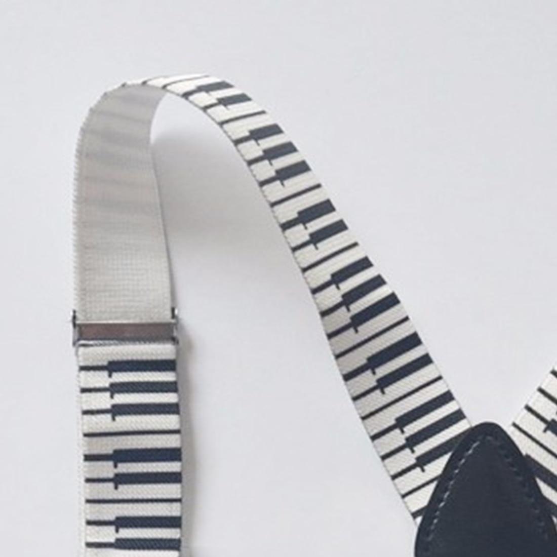 Charming 2.5cm/1Inch Wide Men Unisex Piano Key Board Pattern Suspender Clip-On Braces Elastic Braces Suspender Y-Back Suspenders