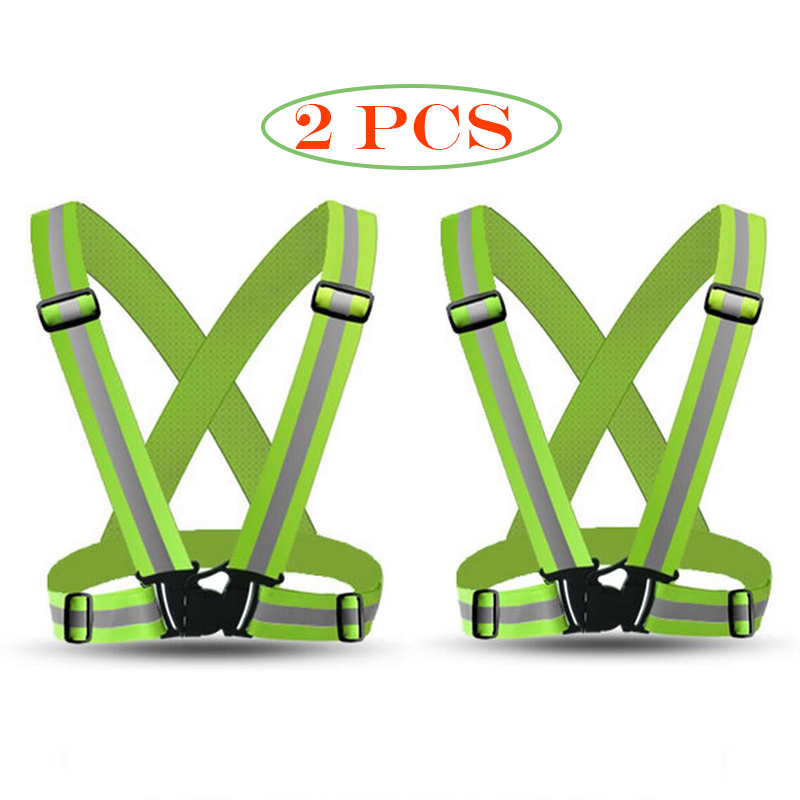 Pack of 2 Pieces High Visibility Safety Reflective Vest Lightweight Adjustable Elastic Running C 10 pieces wholesale express reflective elastic webbing belt high visibility heat transfer tape for sports