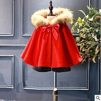 Autumn Baby Clothes Girls Windbreaker Red Fake Fur Children Cloak Sweet Cute Bows Girls Winter Party