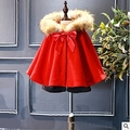 autumn baby clothes girls Windbreaker red fake fur children cloak sweet cute bows girls winter party clothes outfits for 2-7Y