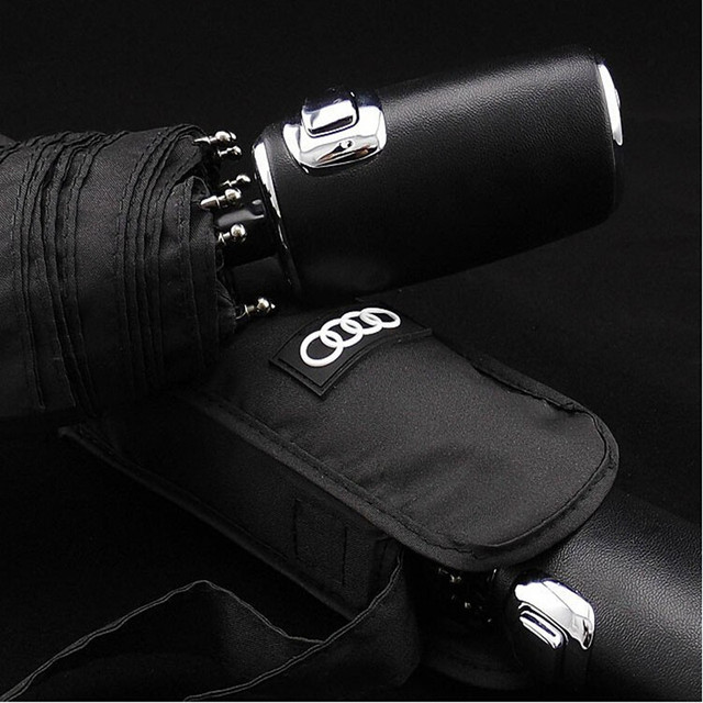 High quality bussiness Audi genuine leather handle Japanese brand sun rain Umbrella 3 Fold Anti UV French royal