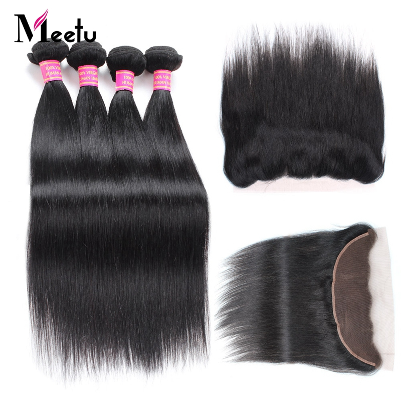Meetu Malaysian Straight Hair 13x4 Lace Frontal Closure with Bundles Non-Remy Human Hair 4 Bundles with Frontal Closure FreePart