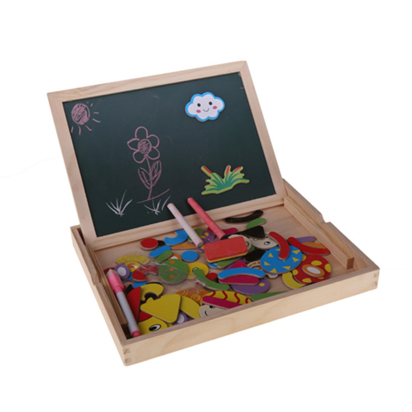 Baby Kids Painting Learning Toy Fantastic Wooden Easel Magnetic Doodle Drawing Board Drawing Blackboard Toy For Children Gift xideyi 24x35 inchs soft magnetic blackboard magnetic board magnetic refrigerator blackboard for multiple planning