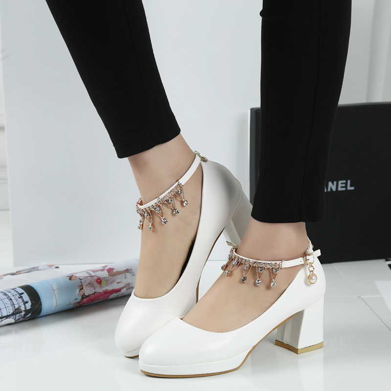Woman Ankle Strap Pumps String Wedding Shoes For Women Bridal Shoes High  Heels Pump White Ladies bb2472385df7