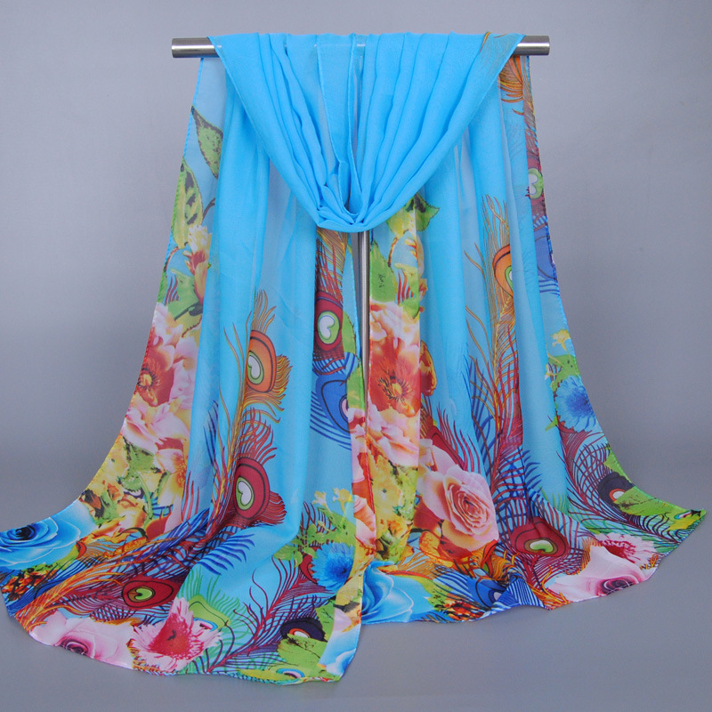 Spring Autumn Chiffon Silk   Scarf   Shawl Floral Peacock Printed Women   Scarves     Wrap   Accessories