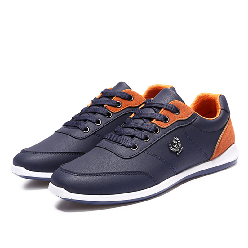New Hot Sale Fashion 2019 Men Shoes pu Leather Casual Breathable Comfortable Lace Up Flat Shoes Quality Shoes Men Spring Autumn