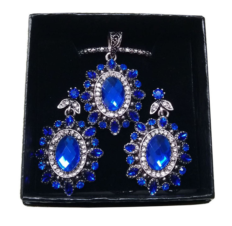f6dc935db 3Pcs Vintage Jewelry Sets For Women Antique Silver Blue Crystal Wedding  Party Earrings Necklace Female Turkish Jewelry