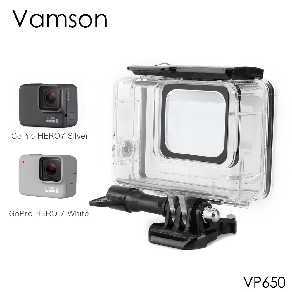 Vamson for Go pro Waterproof Case Hero 7 Silver White  Diving Protective Cover Housing Mount 60M Camera Accessory VP650