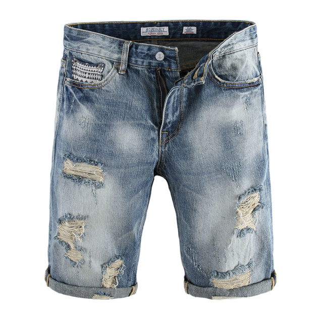 3ea38d117f5ff Italian Style Fashion Mens Jeans Shorts Streetwear Destroyed Short Ripped  Jeans Men Superably Brand Summer Casual Denim Shorts