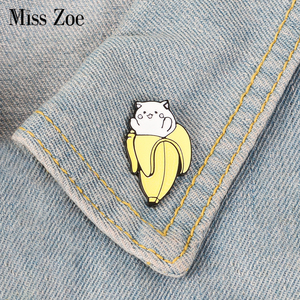 Cat Banana Enamel Pins Cartoon Animal Fruit Brooches Badge Denim jeans Lapel Pin Cute Kitten Jewelry Gift for Friends Kids(China)