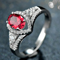 2016 Fine Jewelry Red Gem Fashion 925-Sterling-Silver Rings Women Engagement Ring For girl friend gift lover's Valentine's Day