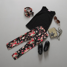 2016 Baby girl clothing sets summer Black T-shirt +print flower pants children kids clothes Sleeveless Pullover clothes