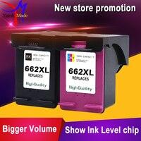 1 Set Black Tri Color For HP 662 Remanufactured Ink Cartridges For HP662 662XL Deskjet 1015