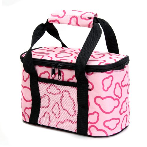 2X AUAU Insulated and Water-Proof LIning Lunch Box Bag Cooler Tote Bag--Pink