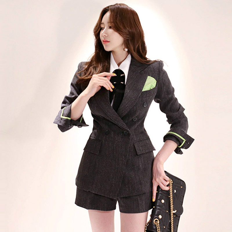 Suit office women High quality casual double-breasted blazer Fashion shorts and suit two-piece 2019 autumn new women's clothing