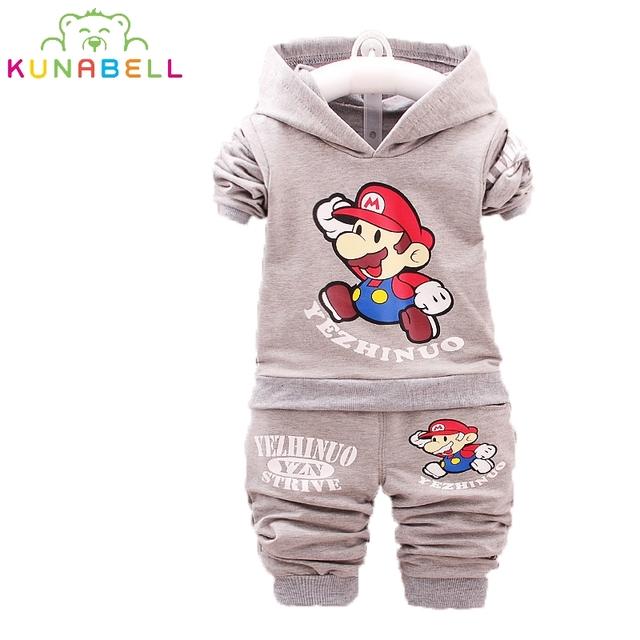 2017 Niños Primavera Ropa Super Mario Cartoon Coat Pantalones 2 unids Trajes de Conjuntos de ropa Para Niños Niñas Con Capucha Tops Niño Chándal L156