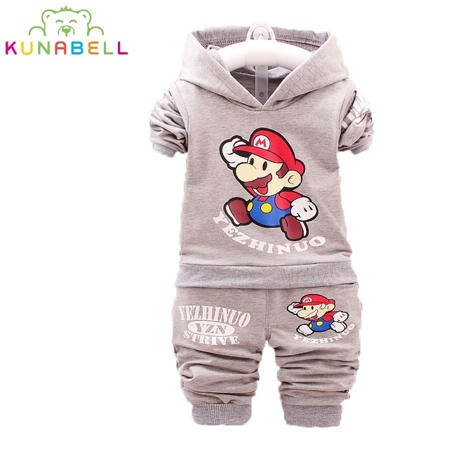 2017 Spring Kids Clothes Super Mario Cartoon Coat Pants 2pcs Clothing Sets For Boys Girls Hooded Tops Child Suits Tracksuit L156