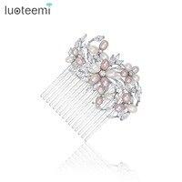 LUOTEEMI Elegant Art Deco Statement Nutural Pearls CZ Flower Wedding Hair Comb Crystal Bridal Hair Piece