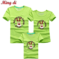 Ming Di Family Look Christmas Deer T Shirts Summer Family Matching Clothes Mom & Dad & Son Daughter Cartoon Outfits More Color