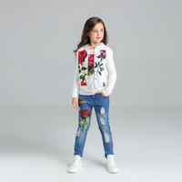 Floral girls suit children clothing girls clothes rose jacket +t shirt+ jeans for girls children broken hole pants