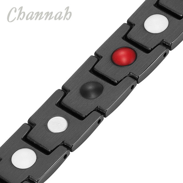 Channah 2017 Unisex Black Bracelet 4in1 Bio Magnets Stainless Bracelets for Men Bangle Fashion Women Jewelry Delivery Wristband