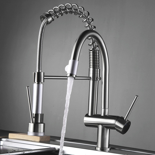 Fapully Kitchen Sink Mixer Double Swivel Hand Spray Chrome 3 ...