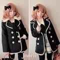 Принцесса сладкий лолита пальто Bobon21 опрятный стиль двубортный меховым воротником шерстяное пальто c0961