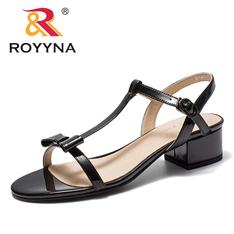 ROYYNA New Arrival Fashion Style Women Sandals Minimalist Design Square Heels Femme Summer Shoes Ultra-Light Lady Summer Sandals breathable women hemp summer flat shoes eu 35 40 new arrival fashion outdoor style light