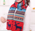 2016 New Christmas Women Bohemia Winter Scarf Women Long Thick Deer Double Print Scarves Girls Women