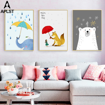 Baby Kids Room Decor Adorable Cartoon Print Paintings Educational Picture Posters Nordic Wall Art Canvas Painting for Bedroom