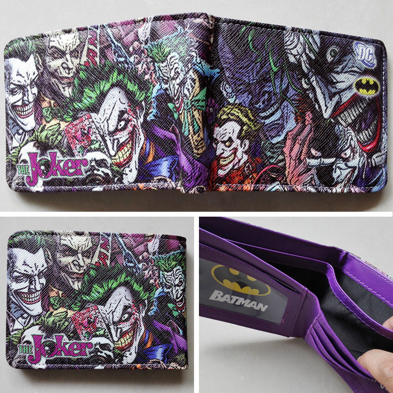 2018 DC Comics The Batman Joker character LOGO wallets Purse Purple 12cm Leather wallet W132 брелок dc comics batman logo