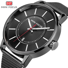 Simple de los hombres de Negocios Reloj de pulsera Correa de Acero Inoxidable de Malla de Cristal Escala Reloj Masculino Masculino Relogio Del Reloj de Ginebra