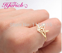 Hfarich Fashion Ring Origami Crane Wedding Rings for Women Animal ring for Children birthday gift Wholesale Dropshipping Jewelry