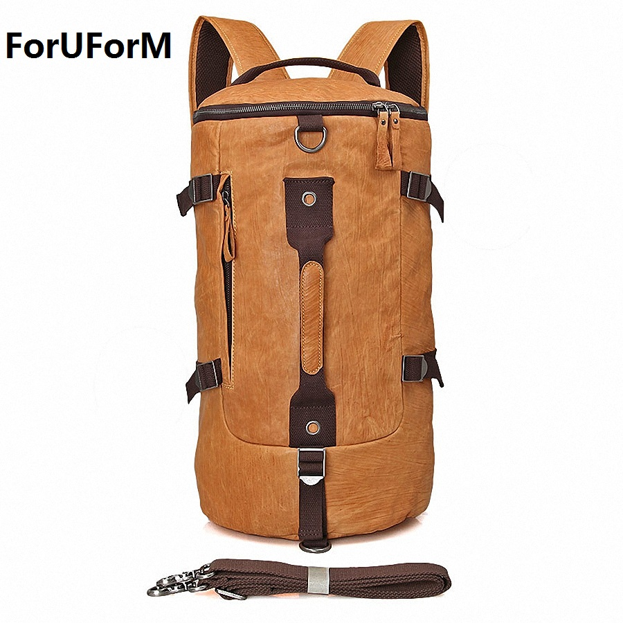High Quality 100% Genuine Leather Bucket Backpack Fashion Men Travel Bags Brand Design 15.6 inch laptop School Backpacks LI-1680 hot 2017 new brand laptop business genuine leather backpack men backpacks travel bag school bags men s backpack high quality
