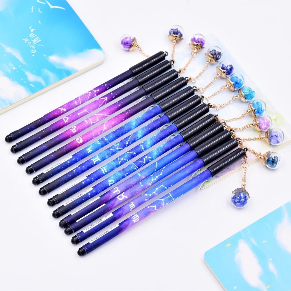 1pc Twelve Constellations 0.5mm Black Pens For School Chancellory Gel Pen Kawaii School Supplies Cute Pen