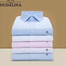 DUDALINA, мужская рубашка размера плюс, с карманами, с длинным рукавом, классические мужские рубашки, официальная, деловая рубашка, мужская, с вышитым логотипом, S-9XL