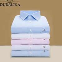 DUDALINA 2019 hommes chemise de grande taille poche à manches longues classique hommes chemises chemise d'affaires formelle homme broderie Logo S-9XL