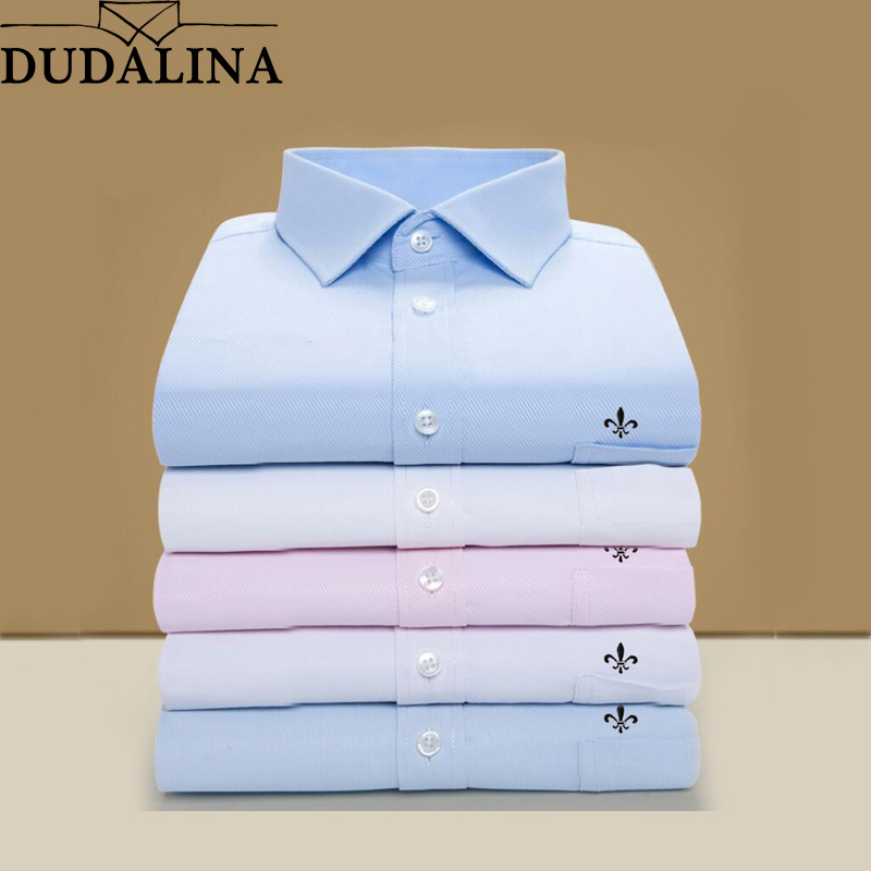 DUDALINA 2020 Men Shirt Plus Size Pocket Long Sleeved Classical Male Shirts Formal Business Shirt Man Embroidery Logo S-9XL